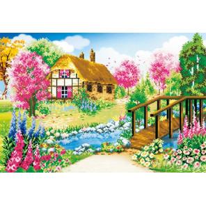 Домик в цветущей деревне Алмазная частичная вышивка (мозаика) F-3075