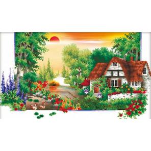 Домик в деревне летом Алмазная частичная вышивка (мозаика) F-3081