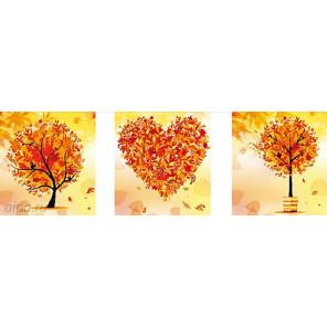 Триптих осень Алмазная частичная вышивка (мозаика) F-3090