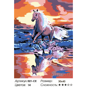 Количество цветов и сложность  Стремительный бег Раскраска картина по номерам на холсте Белоснежка 021-CE