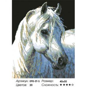 Количество цветов и сложность Белый конь Алмазная вышивка мозаика на подрамнике Белоснежка 090-ST-S