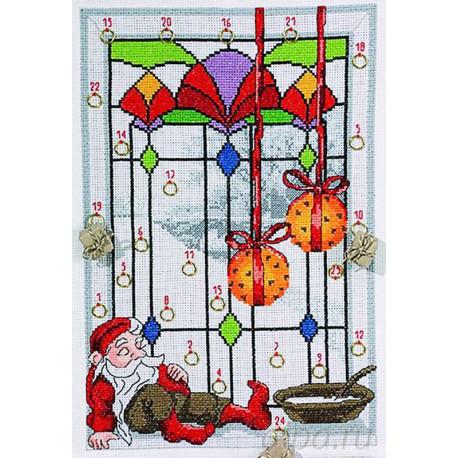 Гном у окна Набор для вышивания календаря PERMIN