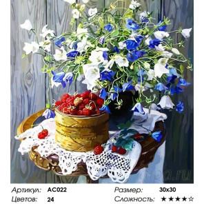 Сложность и количество цветов  Земляничный натюрморт Раскраска - открытка по номерам с декором Color Kit AC022