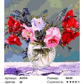 Сложность и количество цветов  Маковые грезы Раскраска - открытка по номерам с декором Color Kit AC016