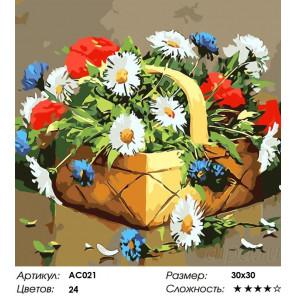 Сложность и количество цветов  Лукошко с сюрпризом Раскраска - открытка по номерам с декором Color Kit AC021