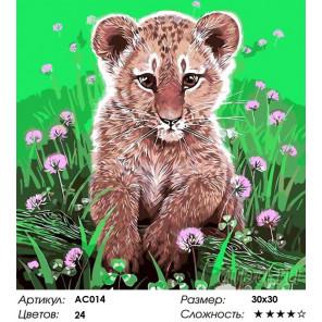 Сложность и количество цветов  Маленький тигренок Раскраска - открытка по номерам с декором Color Kit AC014