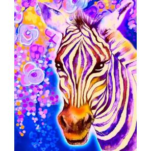 Фиолетовая зебра Алмазная частичная вышивка мозаика Color Kit