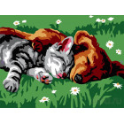 Котенок и щенок Раскраска картина по номерам на холсте Белоснежка 210-CE