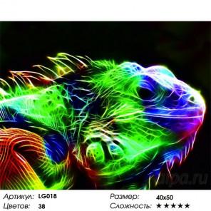 Количество цветов и сложнсоть Игуана Алмазная мозаика на подрамнике LG018