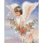 Ангелочек с цветами Раскраска картина по номерам на холсте