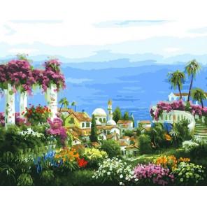 Средиземноморье. Вид на бухту Раскраска картина по номерам на холсте