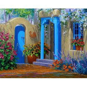Цветущий дворик Раскраска картина по номерам на холсте