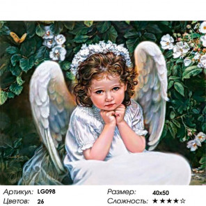 Количество цветов и сложность Ангел в саду Алмазная мозаика на подрамнике LG098