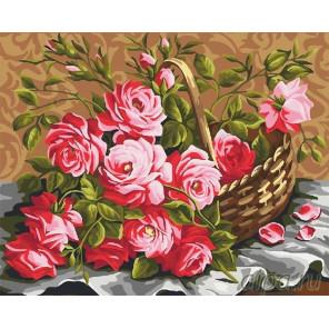 Корзина роз Раскраска по номерам на холсте CG910