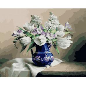 Нежный букет в синей вазе Раскраска картина по номерам на холсте