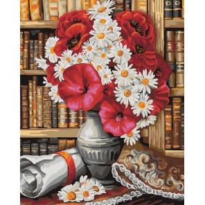 Яркий букет в библиотеке Раскраска картина по номерам на холсте