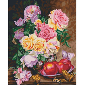 Натюрморт с яблоками и розами Раскраска картина по номерам на холсте CG914