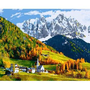 Деревушка в горах Раскраска по номерам на холсте
