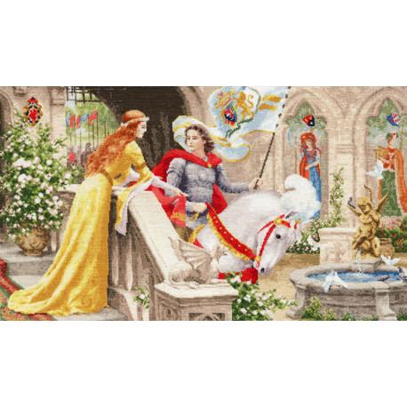 Рыцарь на белом коне Набор для вышивания Золотое Руно ЧМ-068