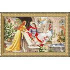 Оформленная в рамку работа Рыцарь на белом коне Набор для вышивания Золотое Руно ЧМ-068