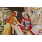 Пример отшитой работы Рыцарь на белом коне Набор для вышивания Золотое Руно ЧМ-068