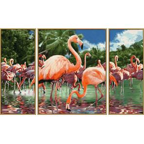 Фламинго Триптих Раскраска по номерам Schipper (Германия) 9260782