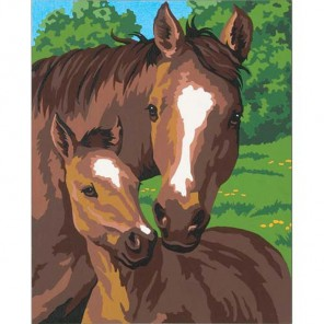 * Лошадь и жеребенок 91119 Раскраска по номерам Dimensions
