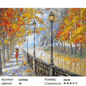 Сложность и количество красок Прогулка по осенней набережной Раскраска картина по номерам GX9960