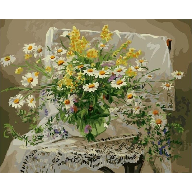 GX5195 Полевые цветы в стеклянной вазе Раскраска картина ...