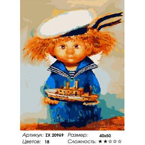 Ангел- морячок Раскраска картина по номерам на холсте