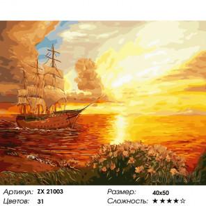 Парусник в лучах заката Раскраска картина по номерам на холсте