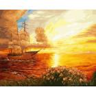 Парусник на закате Раскраска картина по номерам на холсте ZX 21003