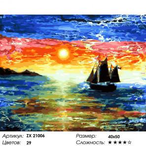 Пейзаж на закате Раскраска картина по номерам на холсте