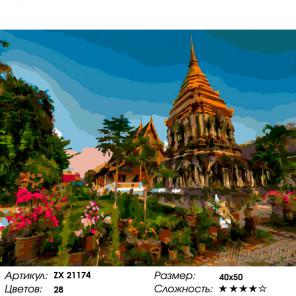 Храм Ват. Тайланд Раскраска картина по номерам на холсте