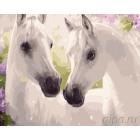 Белые лошади Раскраска картина по номерам на холсте ZX 21084