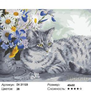Кошка в цветах Раскраска картина по номерам на холсте