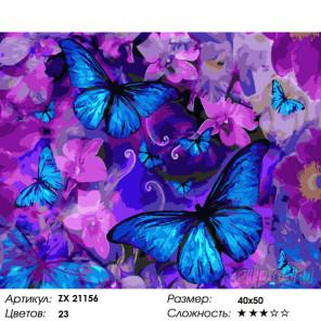Синие бабочки Раскраска картина по номерам на холсте