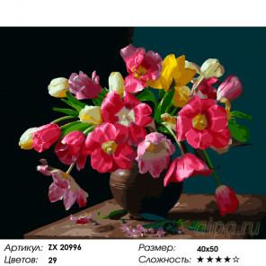 Количество цветов и сложность Тюльпановое настроение Раскраска картина по номерам на холсте ZX 20996