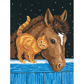 * Лошадь и котенок 91305 Раскраска по номерам Dimensions