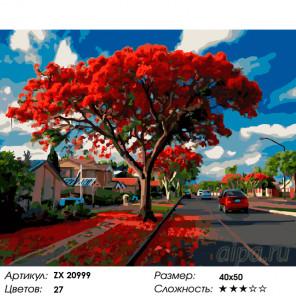 Красное дерево Раскраска картина по номерам на холсте