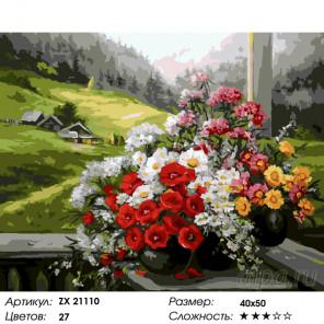 Цветы на крыльце Раскраска картина по номерам на холсте