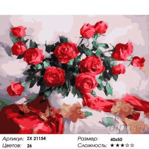 Красное на белом Раскраска картина по номерам на холсте