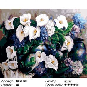 Каллы Раскраска картина по номерам на холсте