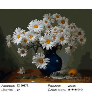 Ромашки на столе Раскраска картина по номерам на холсте