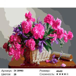 Пионы в корзине Раскраска картина по номерам на холсте