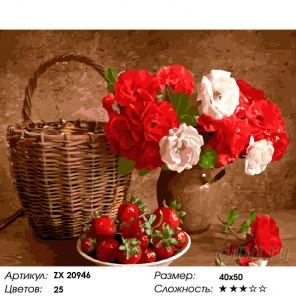 Количество цветов и сложность Корзина с цветами Раскраска картина по номерам на холсте ZX 20946