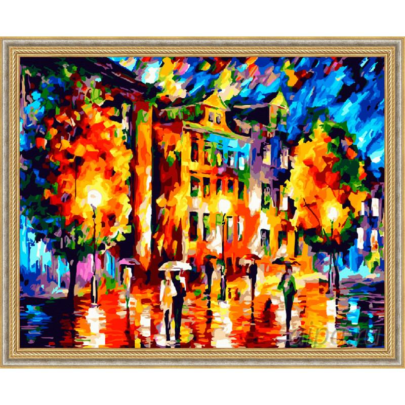 ZX 21077 Городской пейзаж осенью Раскраска картина по ...