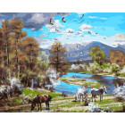 Пейзаж с лошадьми Раскраска картина по номерам на холсте ZX 21023