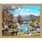 N118 Пейзаж с лошадьми Раскраска картина по номерам на холсте