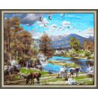 N143 Пейзаж с лошадьми Раскраска картина по номерам на холсте